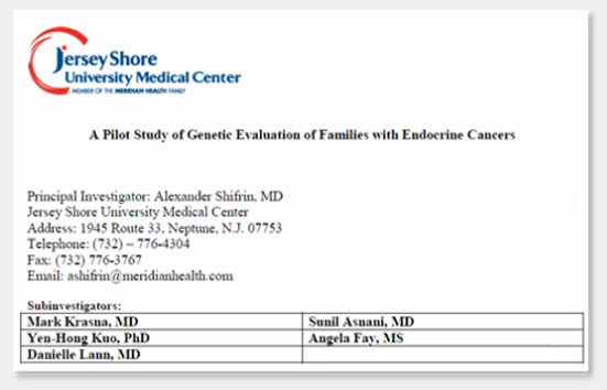 Genetic Evaluation of Families with Endocrine Cancers in MEN1